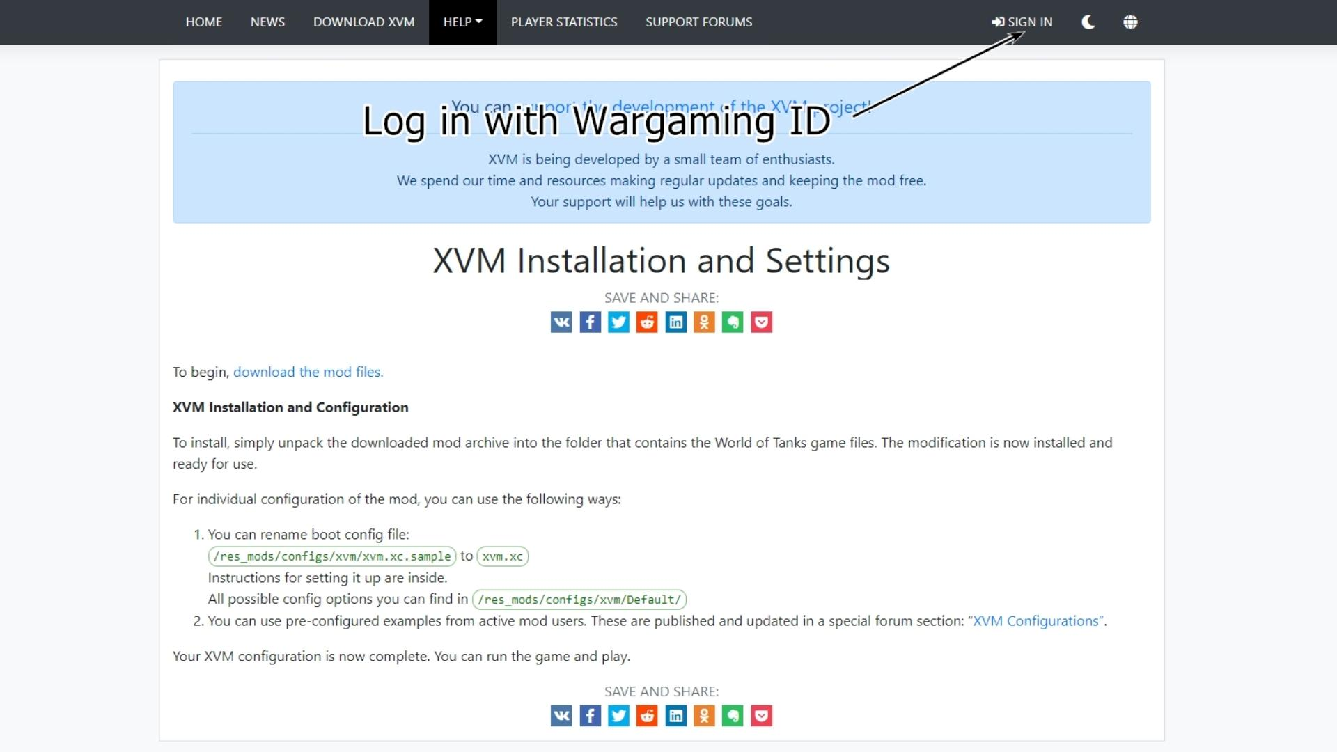 Sign in with WargamingID in XVM official site