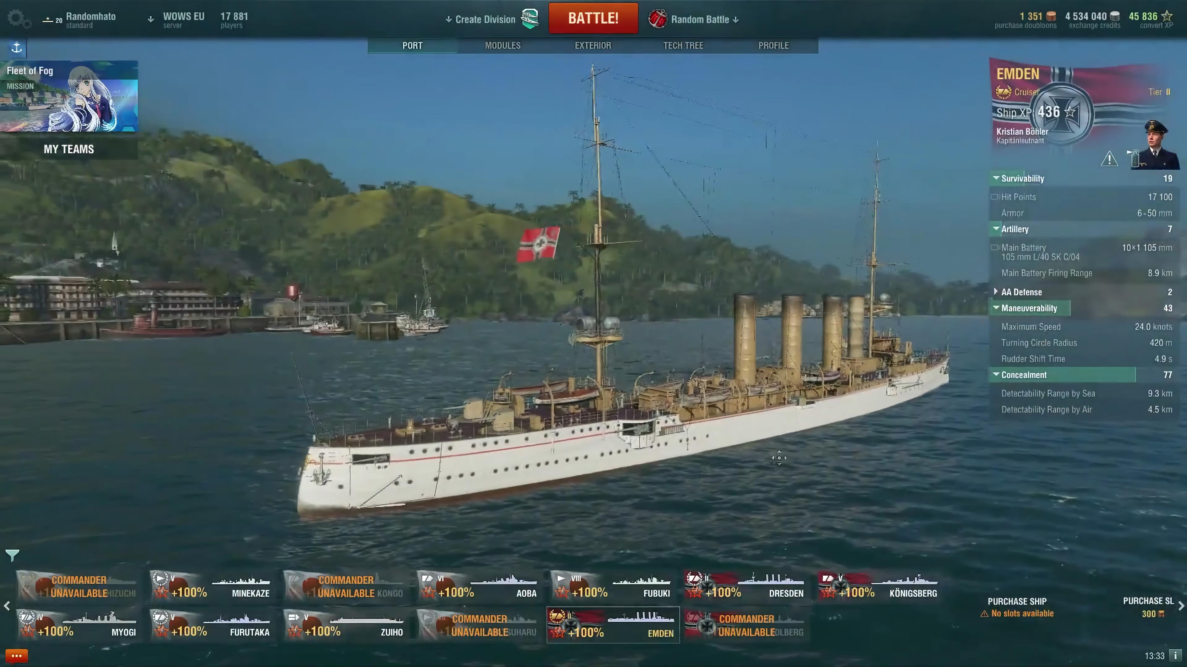 World of Warships SMS Emden.